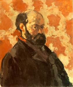 Paul Cézanne: Autoretrato sobre fondo rosa